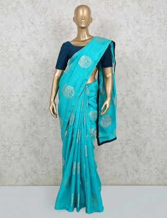 Aqua dola silk saree in matching color pallu