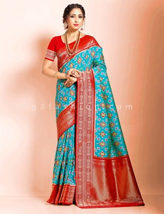 Aqua semi patola silk saree in festive wear