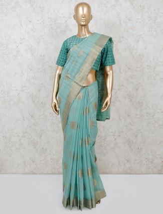 Aqua festive saree in handloom cotton with ready made blouse