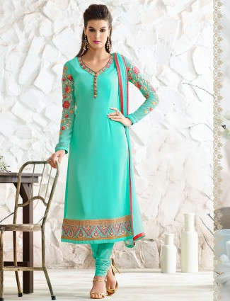 Aqua georgette semi stitches salwar suit