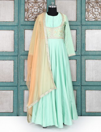 Aqua green festive wear salwar suit
