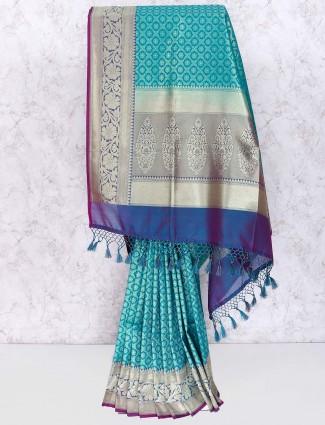 Aqua hue color banarasi silk saree