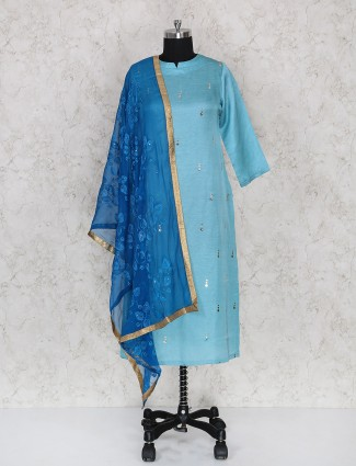 Aqua hue cotton fabric punjabi suit