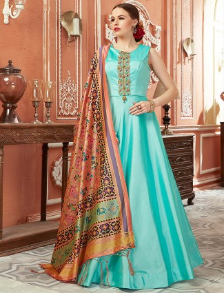 Aqua hue cotton silk fabric floor length anarkali salwar suit