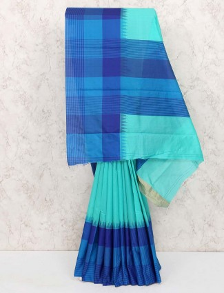 Aqua hue cotton silk festive wear sari