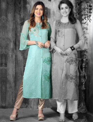 Aqua hue festive kurti in cotton silk