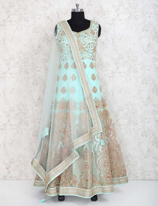 Aqua hue net fabric wedding anarkali suit