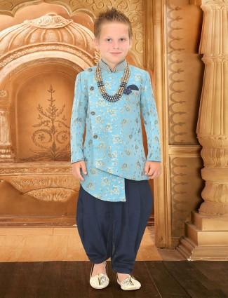 Aqua hue raw silk fabric indo western