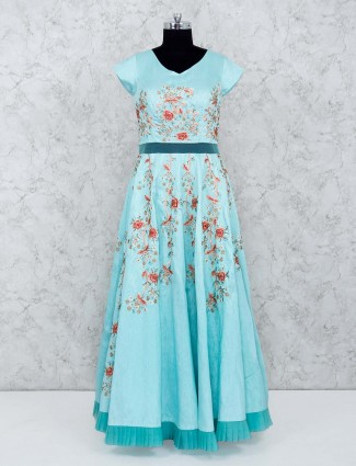 Aqua hue raw silk festive gown