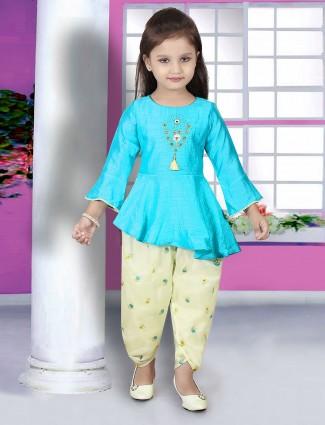 Aqua hue salwar suit for girls