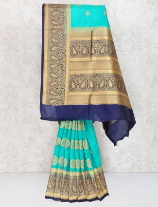 Aqua hue sari in semi silk