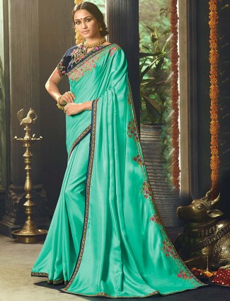 Sea green hue satin saree