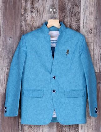 Aqua hue terry rayon party wear blazer
