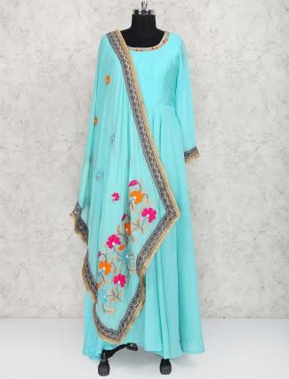 Aqua hued cotton silk anarkali suit