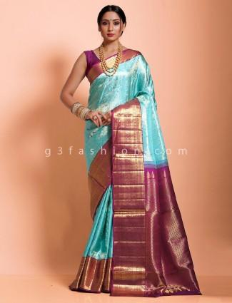 Aqua kanjivaram silk designer saree in contrast purple pallu