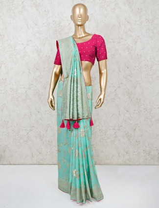 Aqua muga silk saree with contrast blouse piece