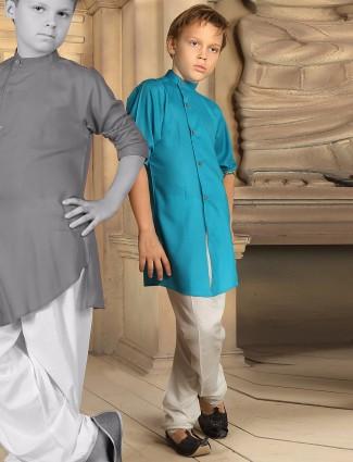 Aqua plain festive wear cotton kurta suit