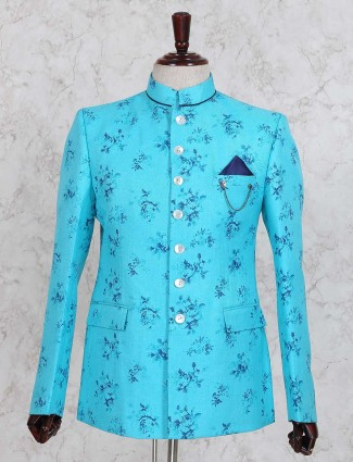 Aqua printed partywear jodhpuri suit