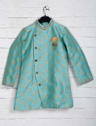 Aqua raw silk boys indo western