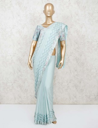 Aqua satin saree for party function