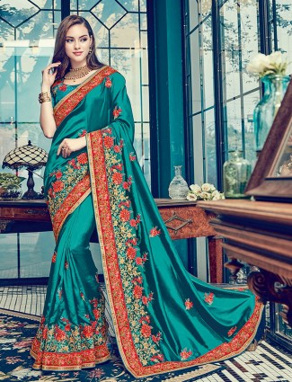 Aqua satin silk wedding wear saree