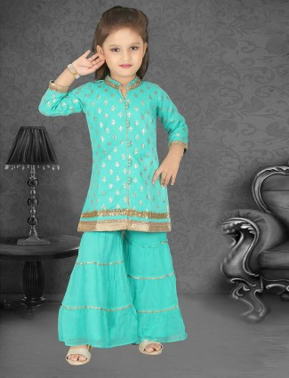 Aqua sharara suit for party function