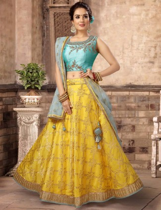 Aqua silk wedding lovely lehenga choli