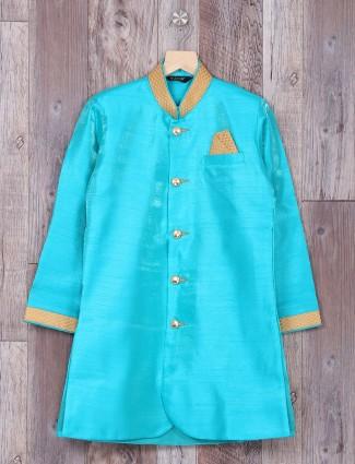 Aqua silk wedding wear indo western