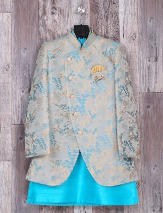 Aqua silk weddingwear indo western