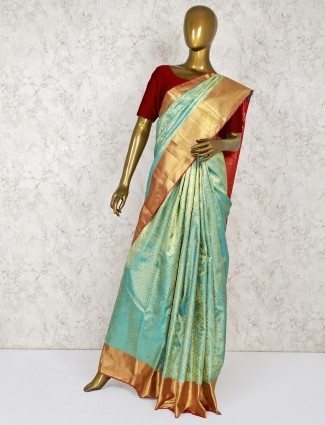Aqua wedding kanjivaram silk saree