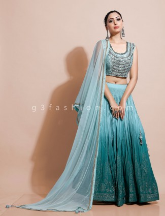 Aqua wedding lehenag choli design in georgette