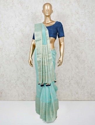Aqua  wedding saree in muga silk