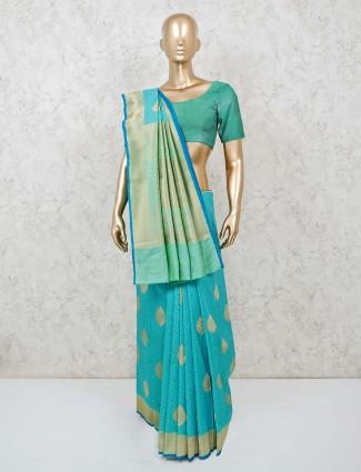 Aqua wedding wear banarasi silk saree