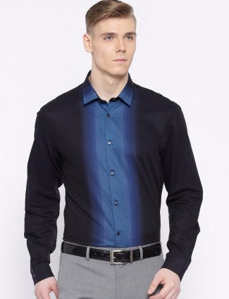 Arrow New York black cotton slim fit party wear shirt