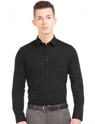 Arrow New York black solid shirt