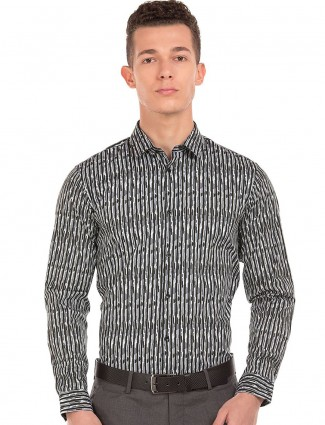 Arrow New York cotton grey black printed shirt