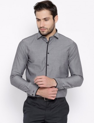 Arrow New York solid grey slim fit cotton party wear shirt