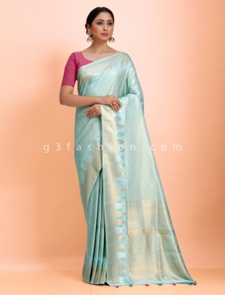 Art kanjivaram silk traditional look aqua saree