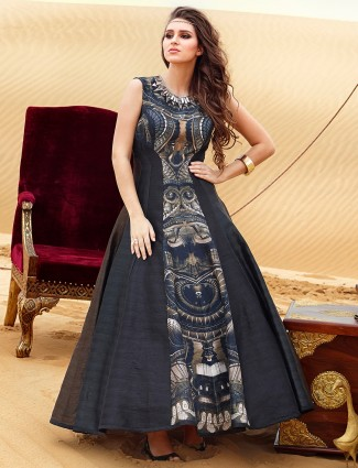 Attractive black ready made raw silk party wear anarkali suit