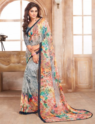 Attractive grey printed  georgette saree
