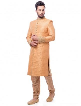 Attractive orange wedding wear silk sherwani