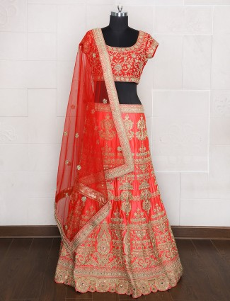 Attractive pink bridal wear silk unsttiched lehenga choli