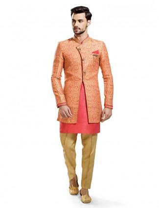 Attractive pink hue silk two piece indo western