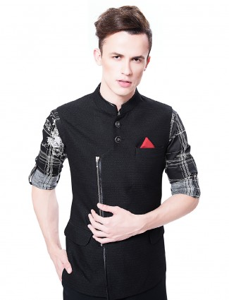Attractive plain black terry rayon waistcoat