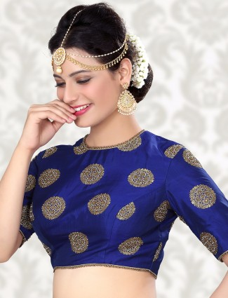 Attractive raw silk blue ready made blouse
