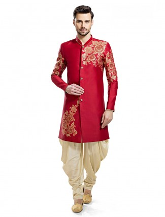 Attractive red silk wedding wear kurta suit