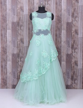 Attractive sea green party wear gown
