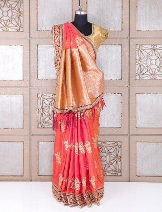Attractive wedding wear peach silk saree