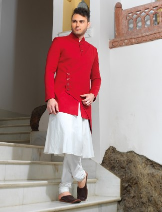 Attractive white red silk sherwani