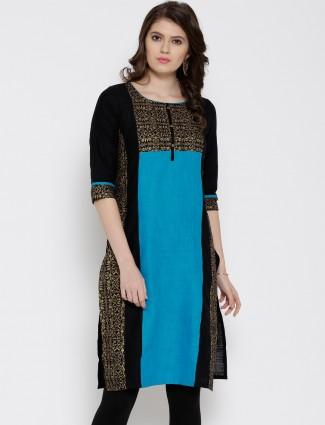 Aurelia black printed cotton casual wear kurti